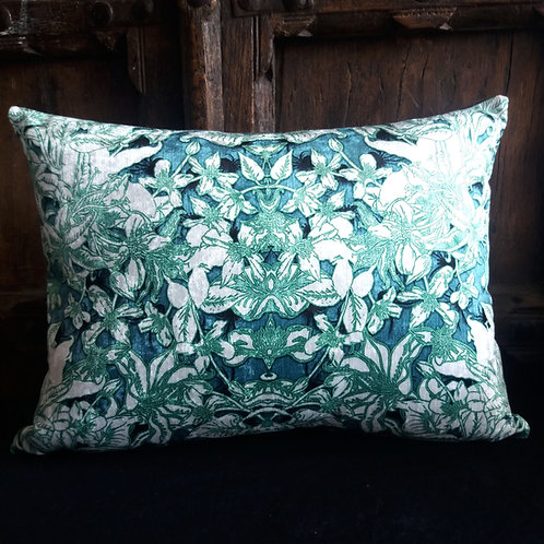 Gothic Floral Cushion - Blue, Green and White with black spiders