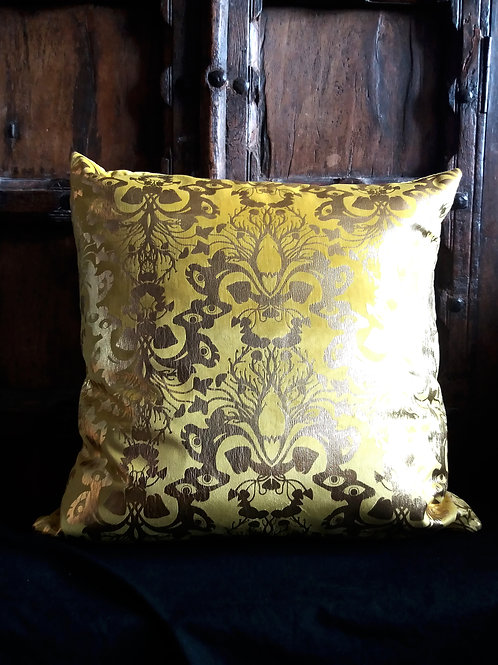 Victorian Gothic Damask Cushion - Mustard Yellow velvet with Silver ink