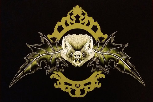 A3, A4 or A5- Mr. Bat - Black and gold Art Print