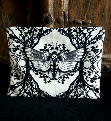 Large Velvet Zip Pouch - Ghost Moth - Choose Your Colour -  PA