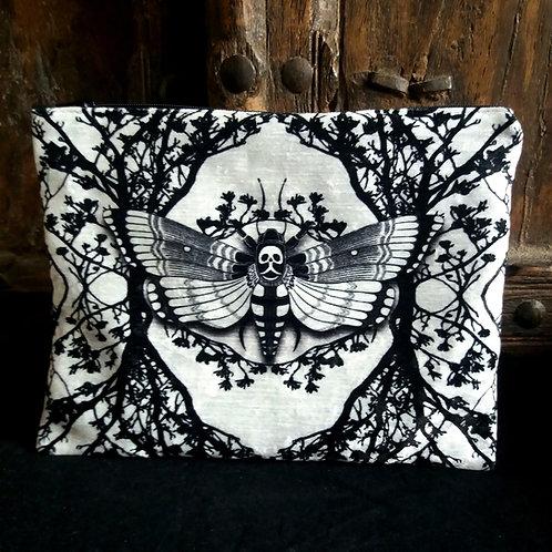 Large Velvet Zip Pouch - Ghost Moth - White