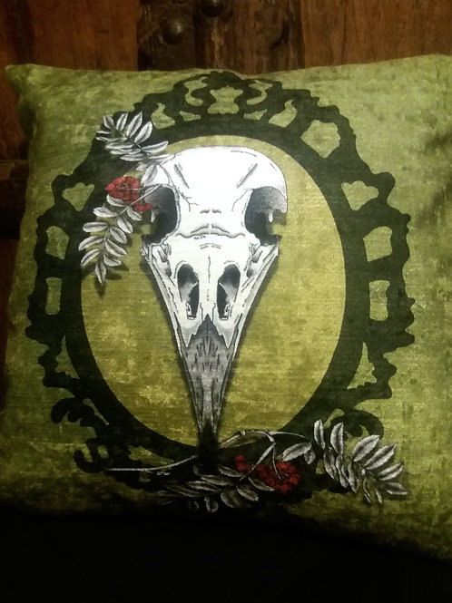 Crow Skull Cushion - On Green (Bayeux Velvet)