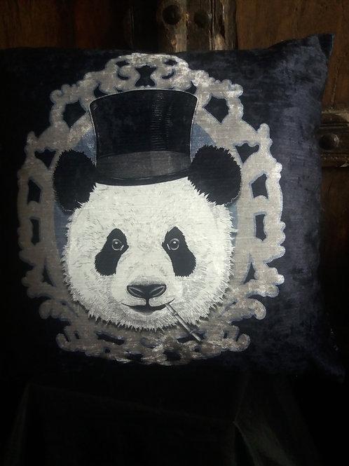 Dandy Panda Cushion - on black - Bayeux Velvet