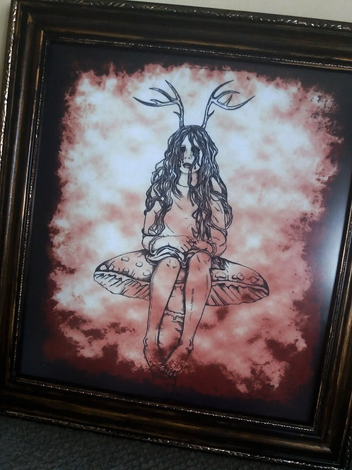 copy of Framed Bayeux Velvet fabric print - Melancholy Fairy