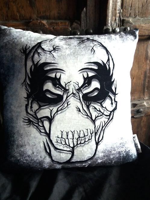 Demon Skull - Lost in the Woods Cushion - Bayeux Velvet
