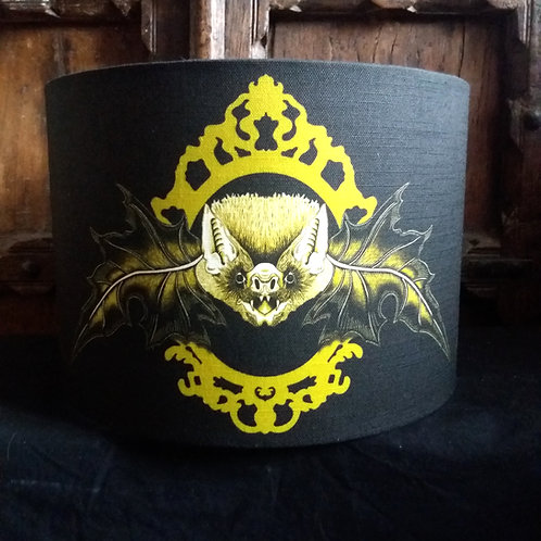 "25cm (10"") Lamp shade - 'Mr. Bat' black and Gold"