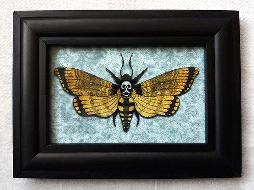 Framed Bayeux Velvet fabric print - Deaths Head Hawkmoth - blue