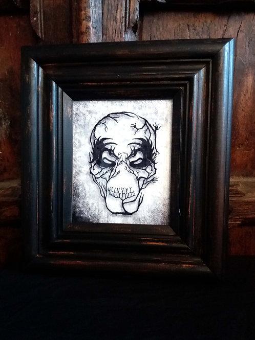 Framed Velvet fabric Art print - Demon Skull
