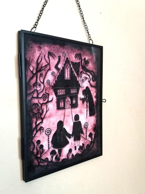 Framed Velvet fabric Art print - Hansel and Gretel - dusky pink