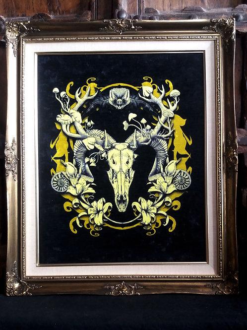 large Framed Velvet Print - Spring Resurrection - black and gold