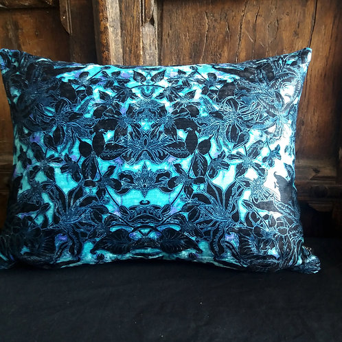Gothic Floral Cushion - Blue and Black with spiders