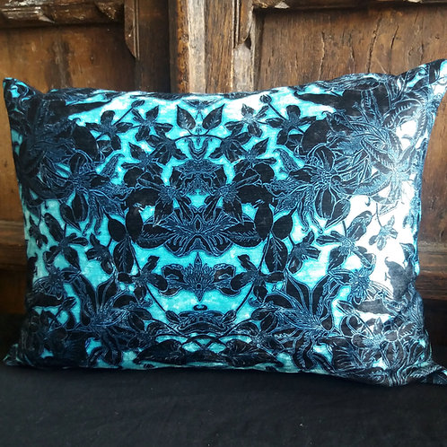 Gothic Floral Cushion - Blue and Black NO spiders