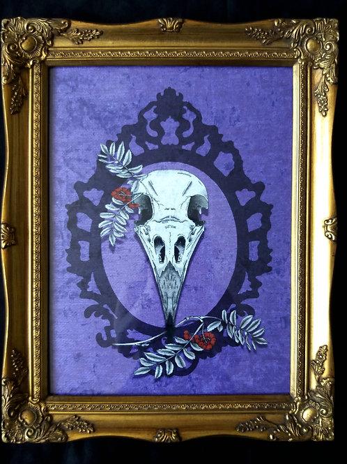 Framed Bayeux Velvet fabric print - Crow Skull - purple