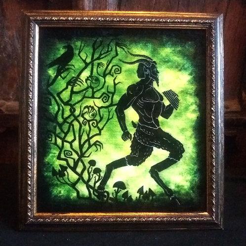 Framed Bayeux Velvet fabric print - Pan on Green