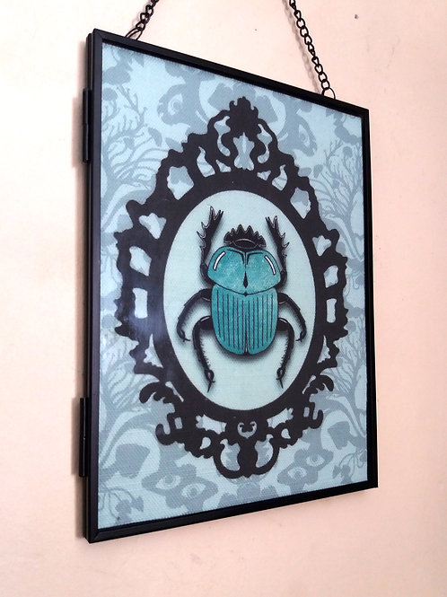 Framed Linen fabric Art print - Scarab beetle