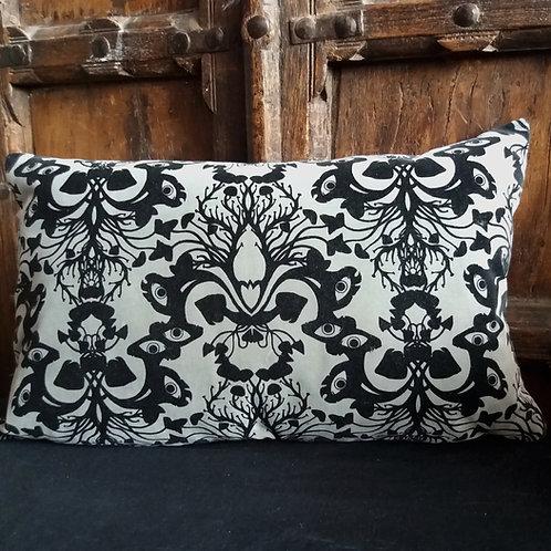 Victorian Gothic Damask Cushion - Plain Grey with Black ink
