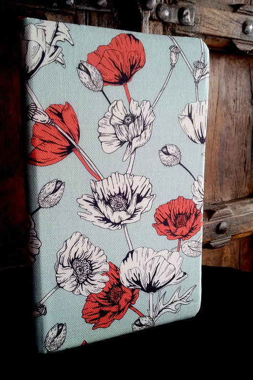 A5 notebook - Red Poppies on Blue