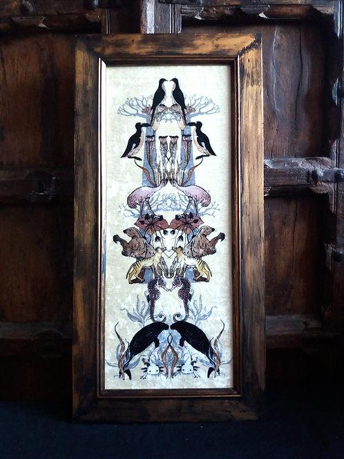 Framed Bayeux Velvet fabric print - Extinct Totem