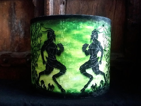"25cm (10"") Lamp shade - Great God Pan on green"