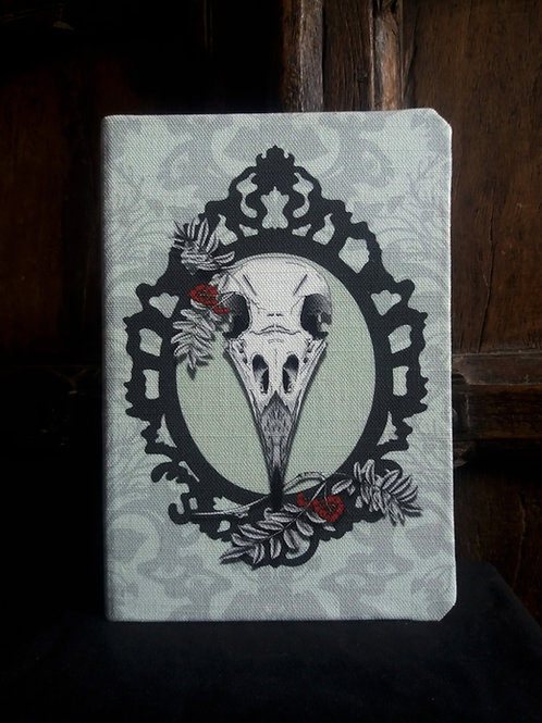 A5 notebook - Crow Skull on seafoam