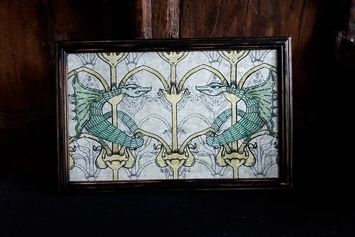 Framed Bayeux Velvet fabric print - Green Dragon