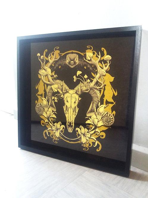 Framed Velvet Art Print - Spring resurrection Black & Gold