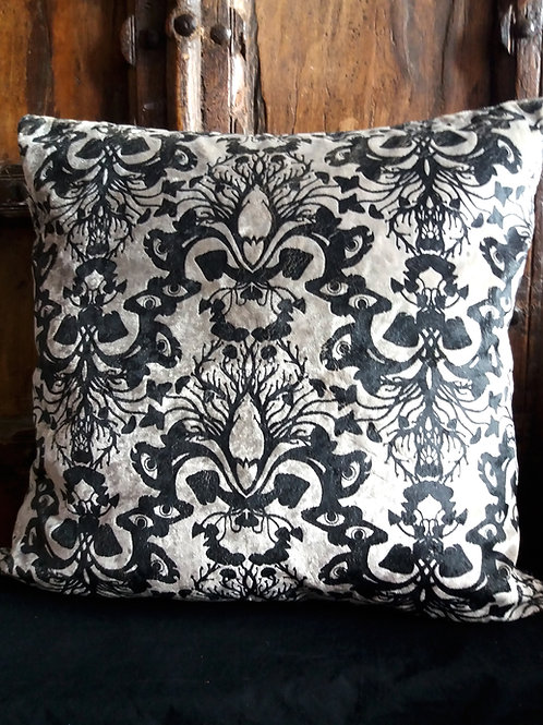 Victorian Gothic Damask Cushion - Silver Antique with Black inkBlack ink