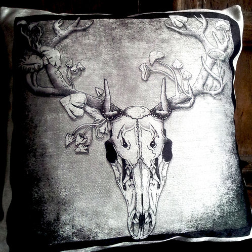 Deer Skull Cushion - Grey (Bayeux Velvet)