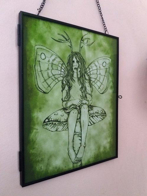 Framed Velvet fabric Art print - Melancholy Fairy