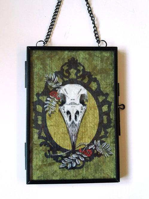small Framed Velvet fabric Art print - Crow Skull - Green