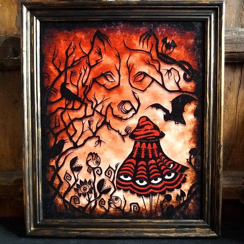 Large Framed Bayeux Velvet fabric print - Little Red Riding Hood
