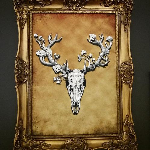 Framed Bayeux Velvet fabric print - Autumn Deer Skull