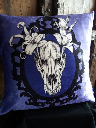 Wolf Skull Cushion - Bayeux Velvet - Choose Your Colour - PA