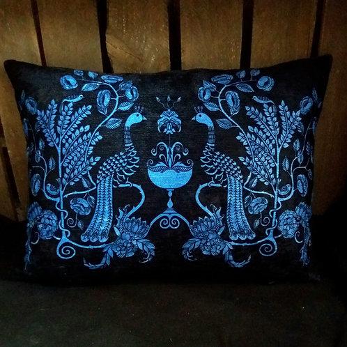 Cushion - Peacock Chalice - blue/black
