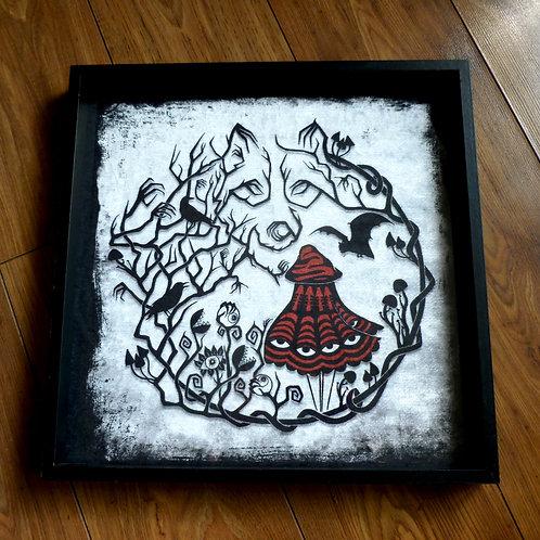 """16"""" Framed Velvet Art Print - Red Riding Woods"""