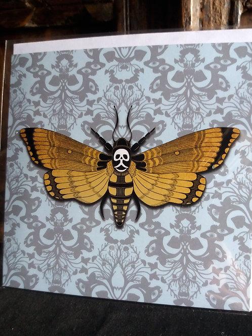 "Deathshead Hawkmoth - 6"" square greetings card"