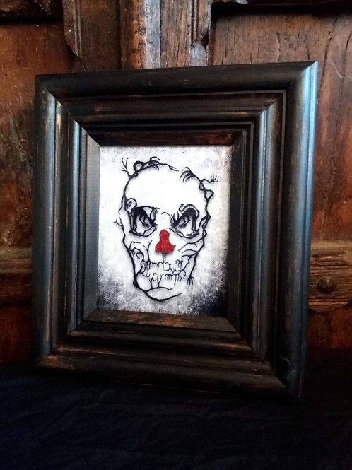 Framed Velvet fabric Art print - Red Riding Hood Skull