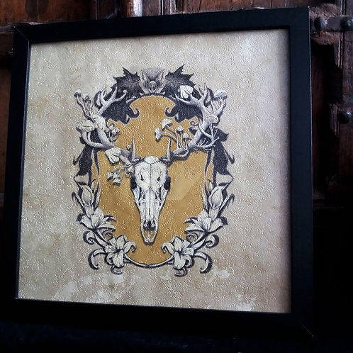 Deer Skull -   Textured Framed Wallpaper Print