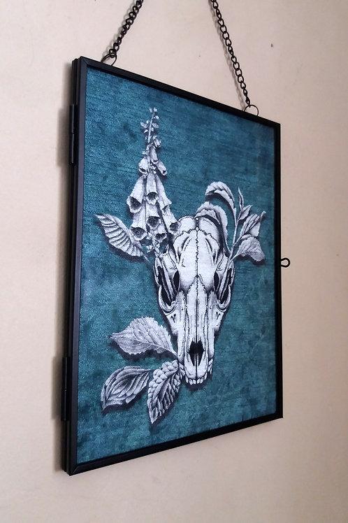 Framed Velvet fabric Art print - Fox Skull- Jade