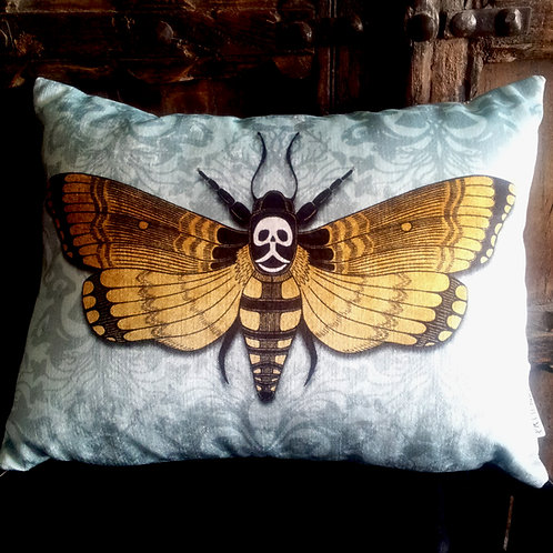 Deaths-Head Hawkmoth Cushion - Blue (Bayeux Velvet)