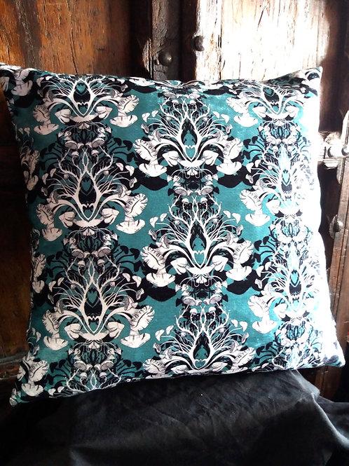 Jade Damask Cushion - Bayeux Velvet