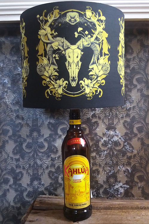 """Bottle lamp with 25cm (10"""") Lamp shade - Spring Ressurrection - Black and Gold"""