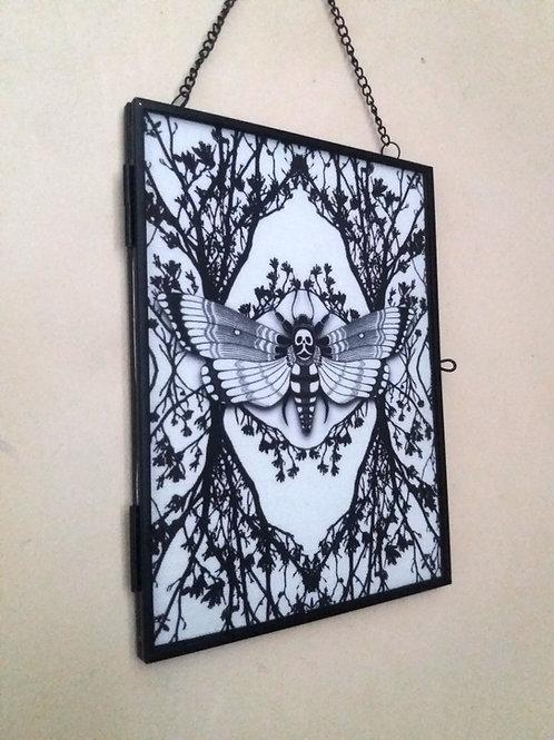 Framed Linen fabric Art print - Ghost moth - white