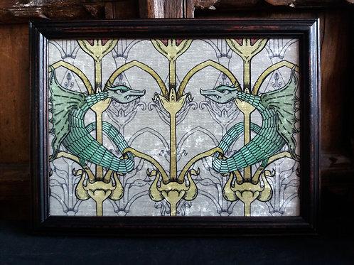 Framed Bayeux Velvet fabric print - Green Dragon