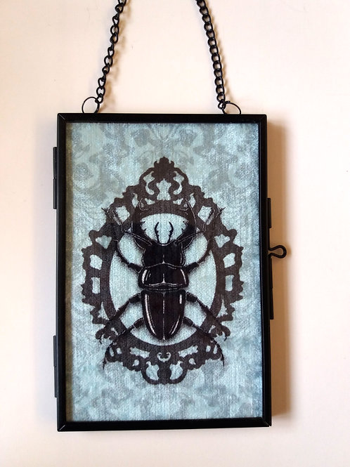 small Framed Velvet fabric Art print - Stag Beetle