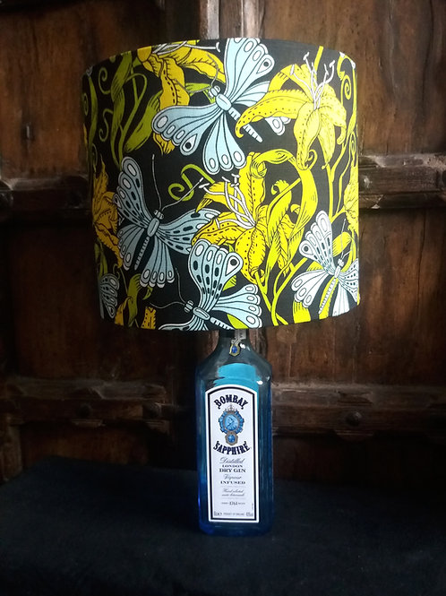 """Bottle lamp with 25cm (10"""") Lamp shade - Floral Jungle shade with Gin bottle"""