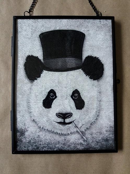 Framed Velvet fabric Art print - Dandy Panda