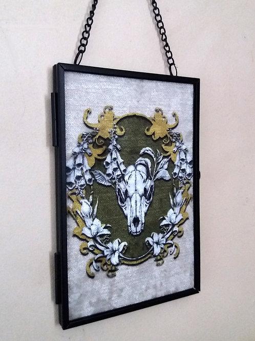 small Framed Velvet fabric Art print - Spring Fox