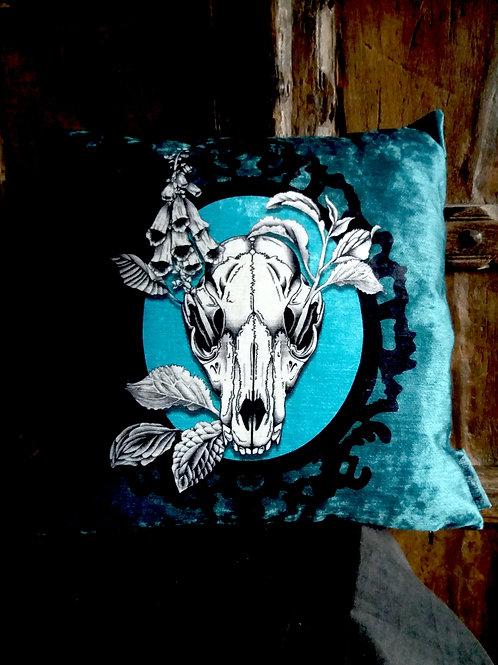 Autumn Fox Skull Cushion - Bayeux Velvet