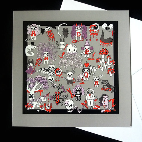 "Creepy Cute Alphabet - 6"" square greetings card"